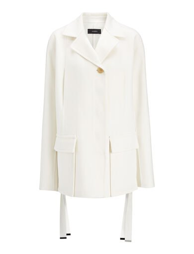 Manteau court Caplan en double laine, in CHALK, large | on Joseph