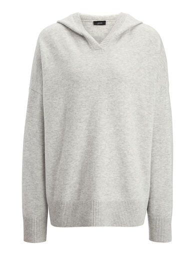 Farrah Knit Hoody, in CONCRETE, large | on Joseph