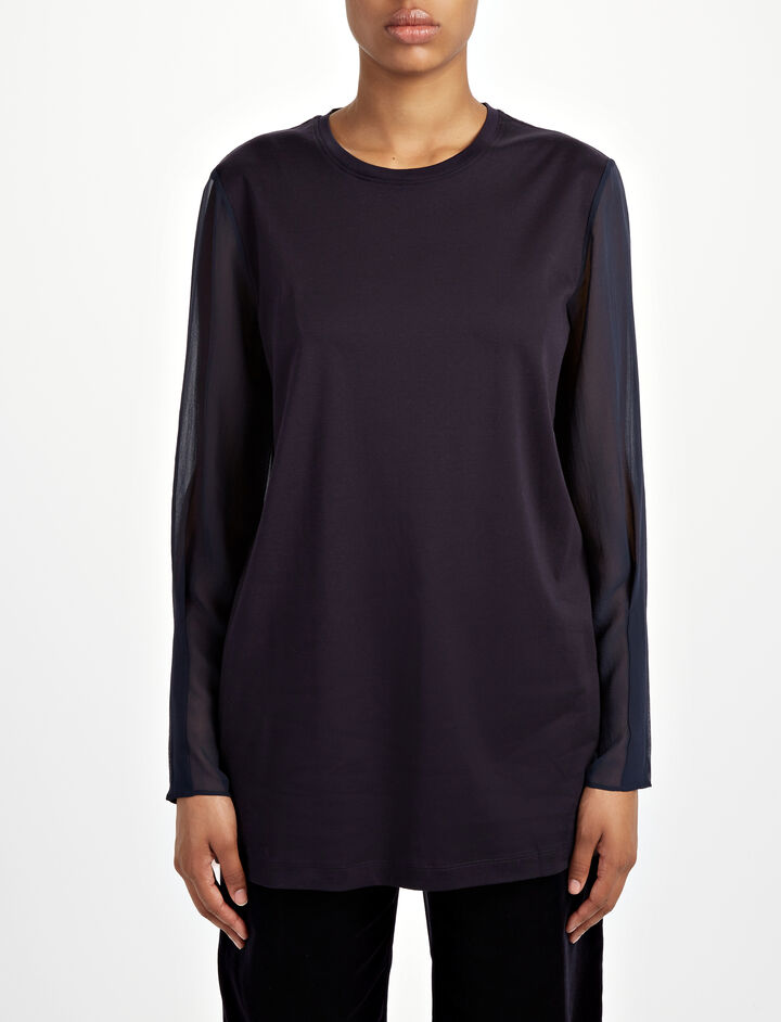 Jersey + Silk Georgette Top, in DARK NAVY, large | on Joseph
