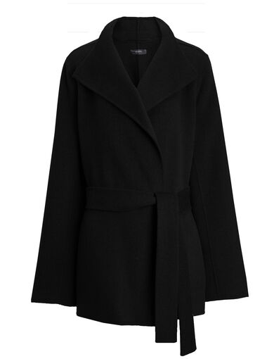 Double Face Cashmere Lima Short Coat, in BLACK, large | on Joseph