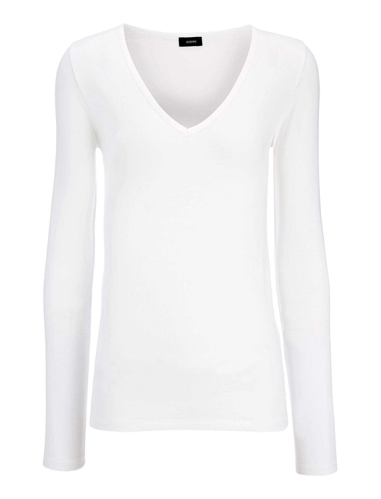 Haut col V en coton et lyocell stretch, in OFF WHITE, large | on Joseph