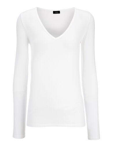 Cotton Lyocell Stretch V Neck Top, in OFF WHITE, large | on Joseph