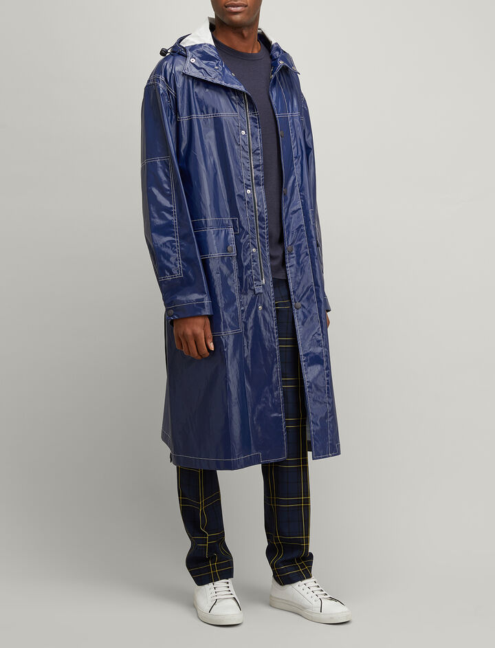 Coated Poplin Malibu Coat, in NAVY, large | on Joseph