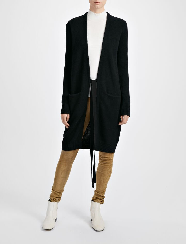 Open Cashmere Long Cardigan, in BLACK, large | on Joseph