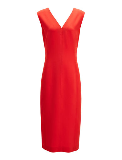 Robe Dana en stretch flou, in RUBY, large | on Joseph
