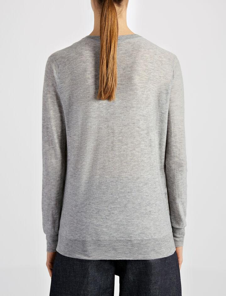 Cashair V Neck Sweater, in GREY CHINE, large | on Joseph