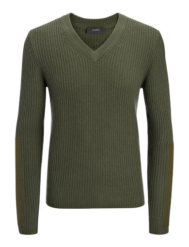 Military Cashmere V Neck Sweater, in KHAKI, large | on Joseph