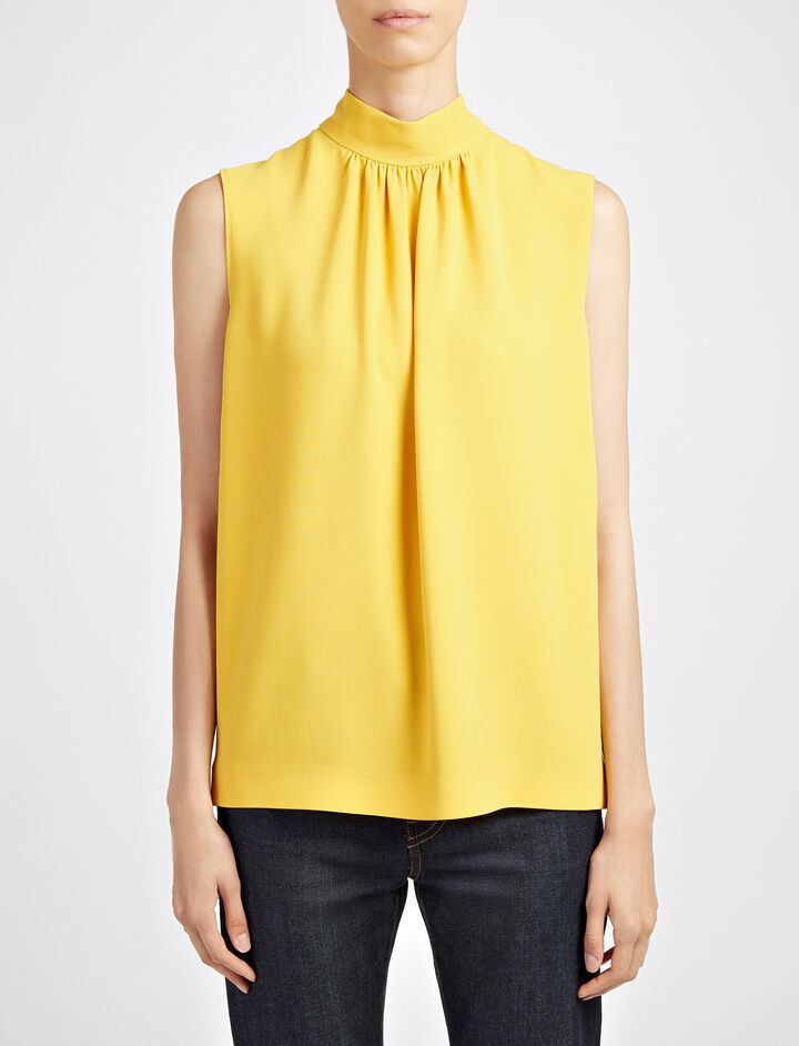 Viscose Cady Bell Blouse, in YOLK, large | on Joseph