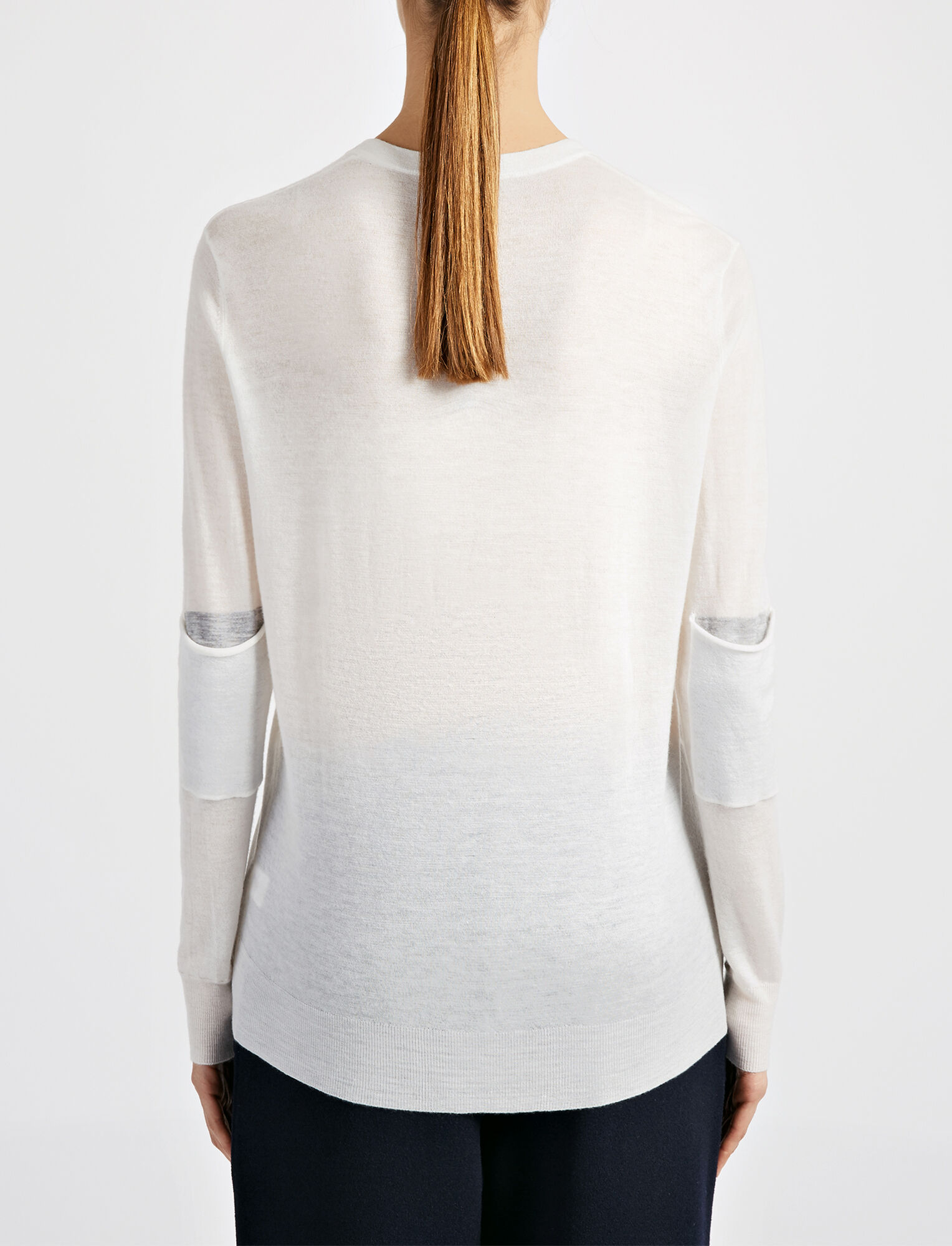 Joseph, Cashair and Patch V Neck Sweater, in BONE