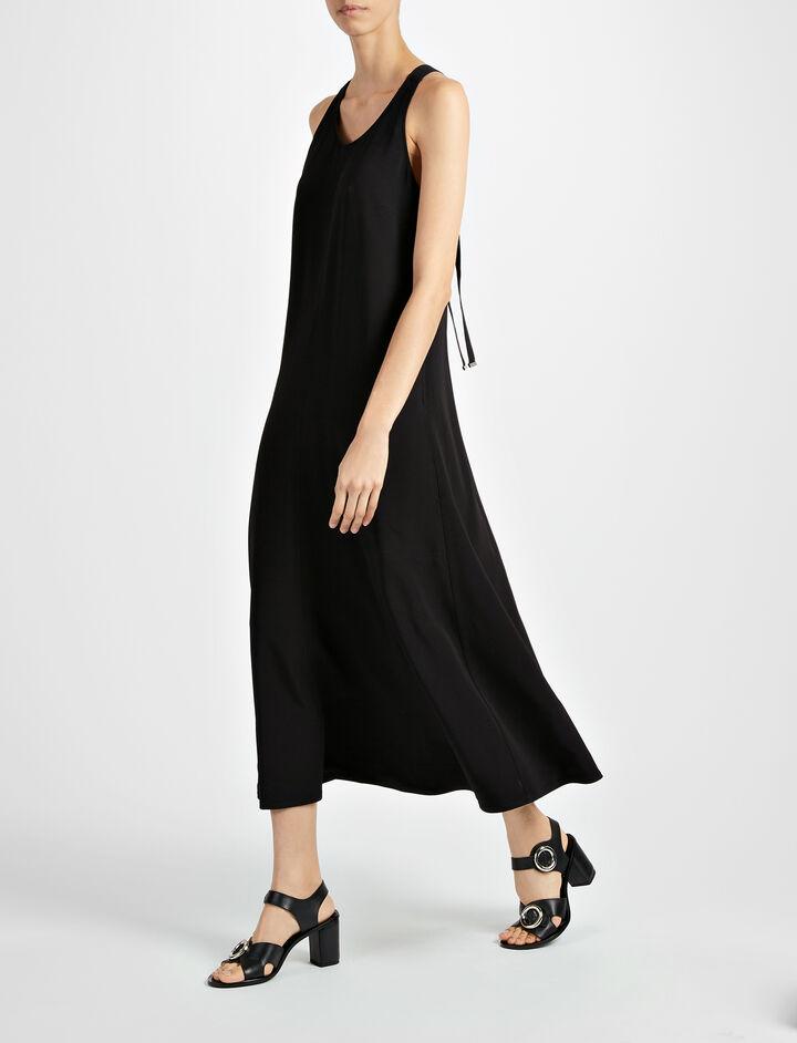 Viscose Stretch Penn Dress, in BLACK, large | on Joseph