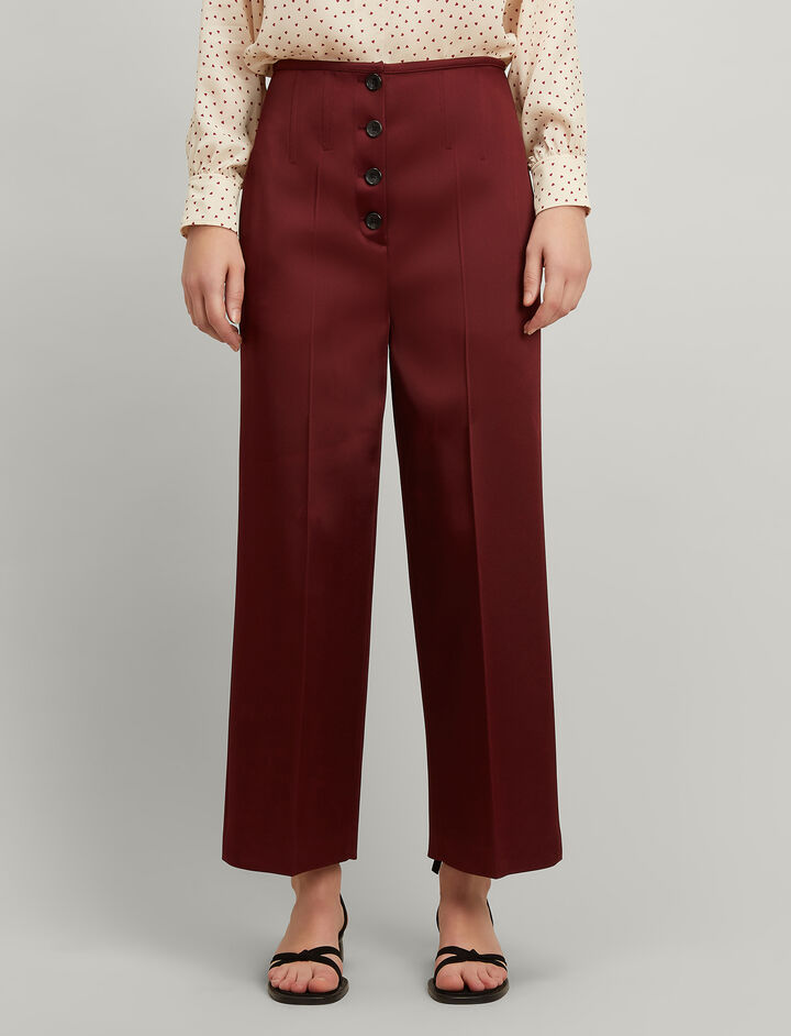 Double Satin Brod Trousers, in MORGON, large | on Joseph