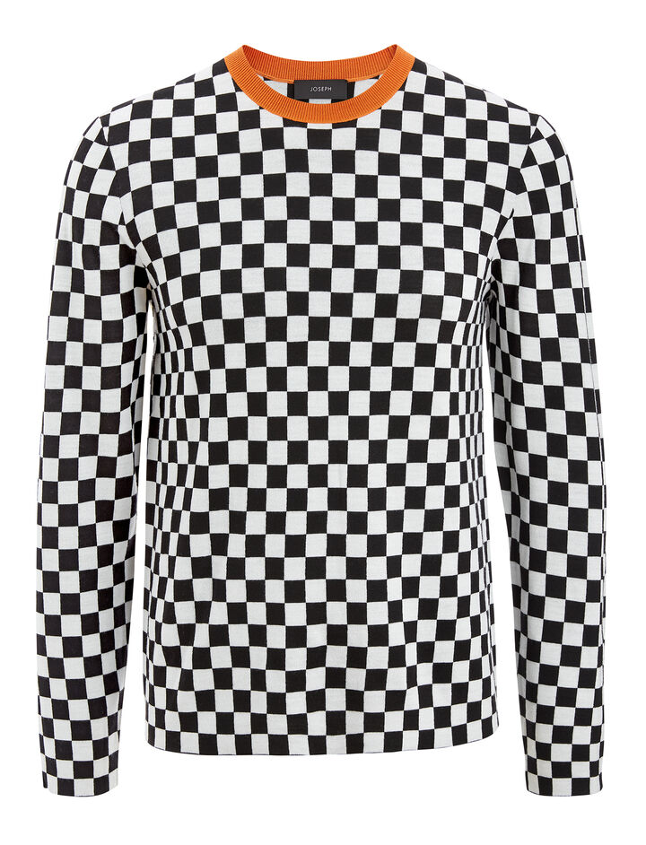 Joseph, Racing Check Sweater, in BLACK