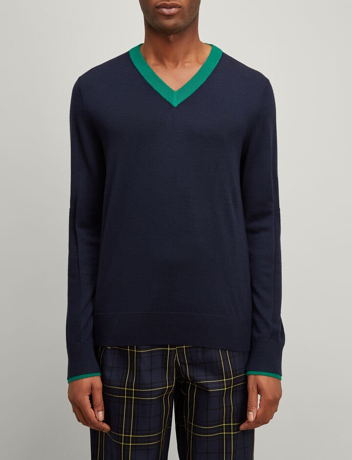 Joseph, Rib Patch Merinos V Neck Sweater, in NAVY