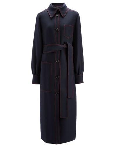 Uniform Twill Saul Coat Coat, in NAVY, large | on Joseph