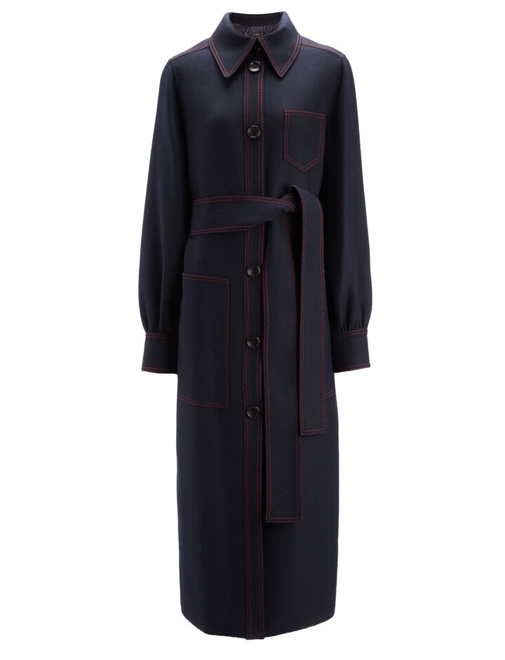 Uniform Twill Saul Coat Coat, in NAVY, large | on Joseph