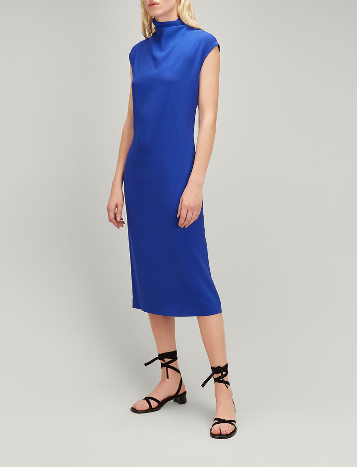 Joseph, Viscose Cady Louis Dress, in COBALT BLUE