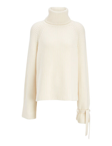 Cardigan Stitch Cropped Sweater, in OFF WHITE, large | on Joseph