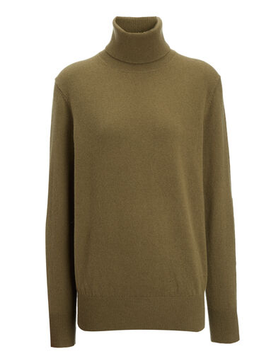 Mongolian Cashmere Roll Neck Sweater, in ARMY, large | on Joseph