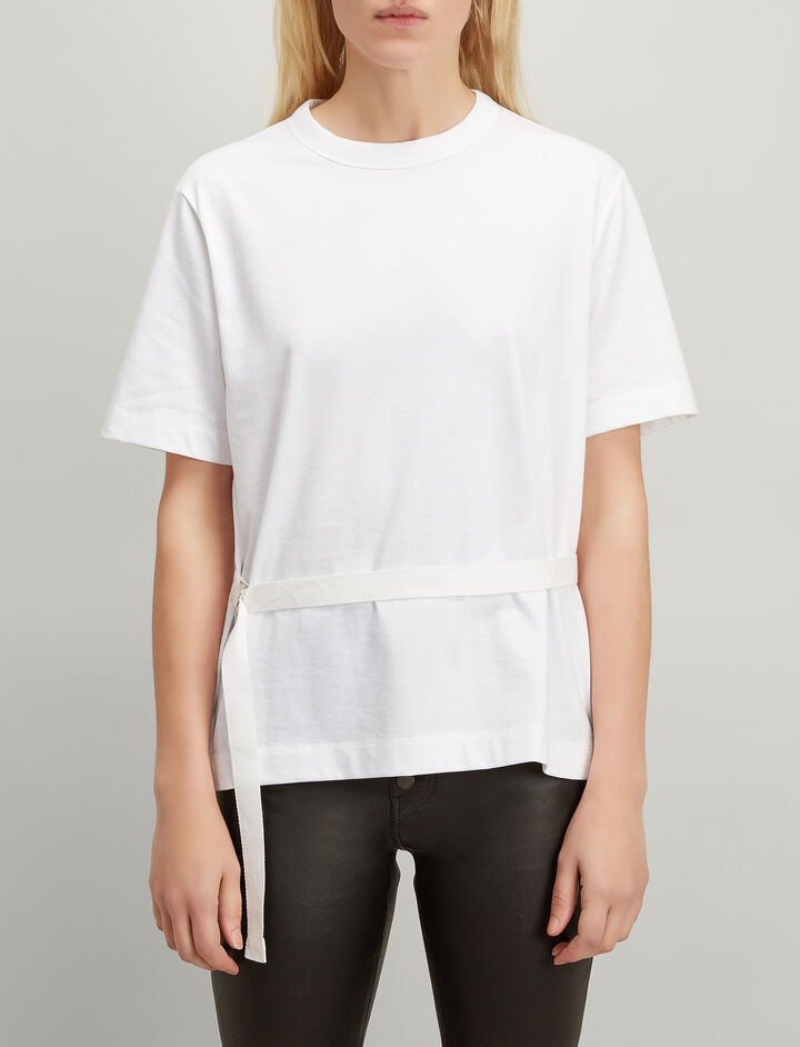 Loopback Jersey Tie Sweatshirt, in WHITE, large | on Joseph