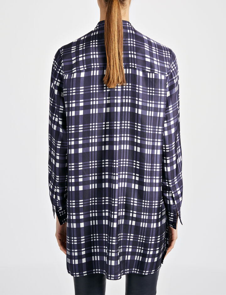 Check Twill New Dara Blouse, in NAVY, large | on Joseph