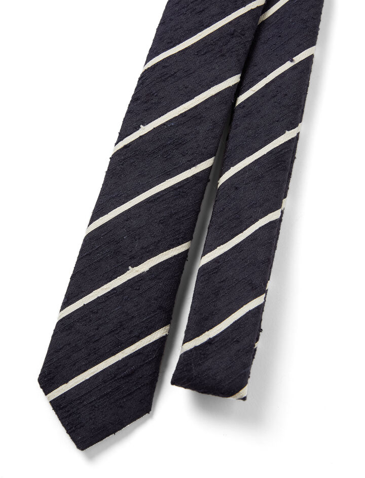 Silk Stripes Tie, in NAVY/ECRU, large | on Joseph