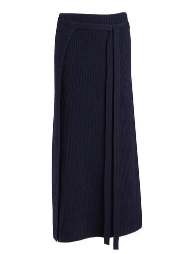 Soft Wool Wrap Skirt, in NAVY, large | on Joseph