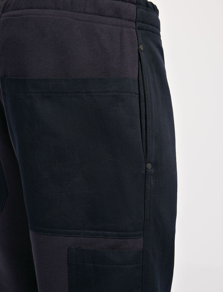 Linen Cotton and Sweatshirt Trouser, in NAVY, large | on Joseph