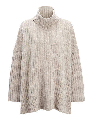 Soft Wool Poncho, in BEIGE CHINE, large | on Joseph