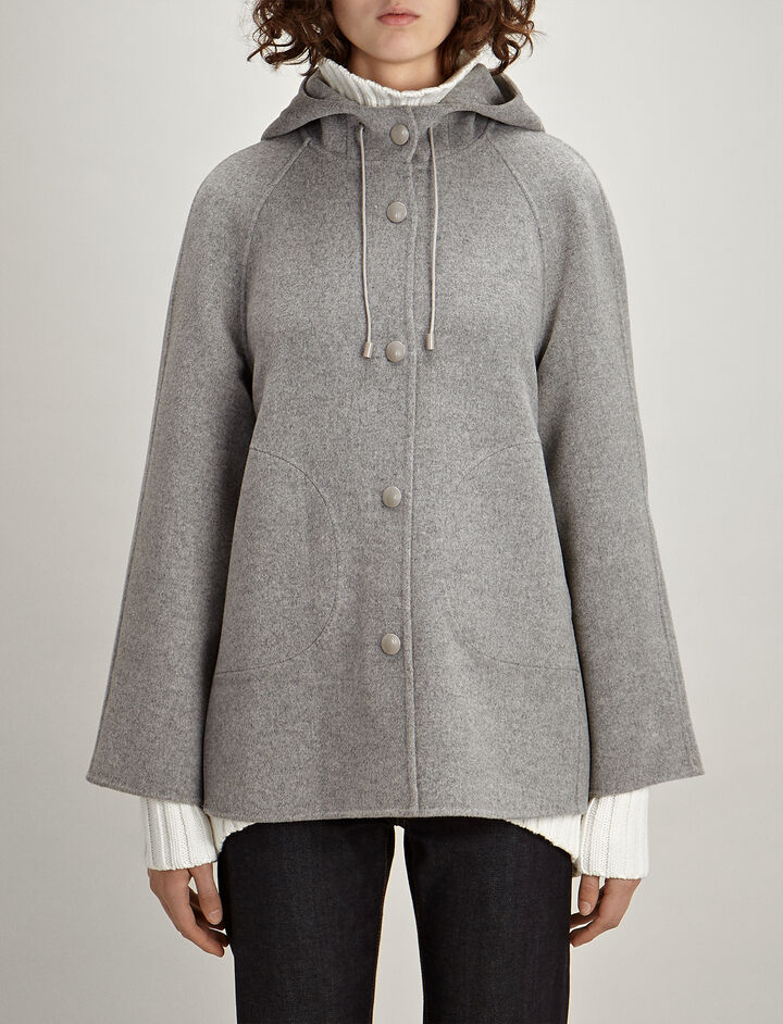 Double Wool Rowen Short Coat, in GREY CHINE, large | on Joseph