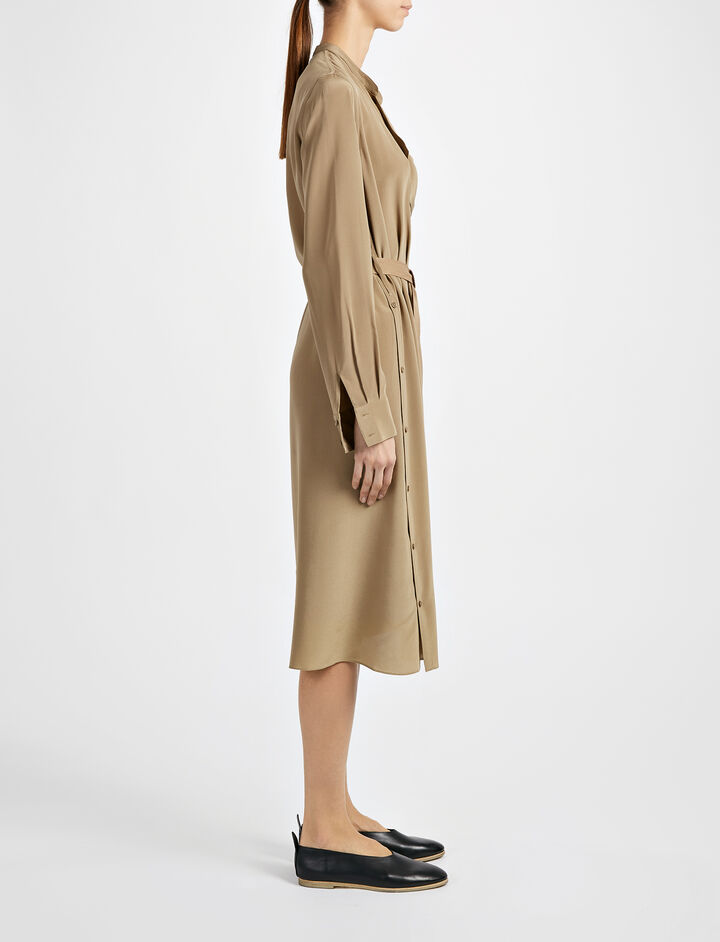 Crepe de Chine New Duke Dress, in ARMY, large | on Joseph