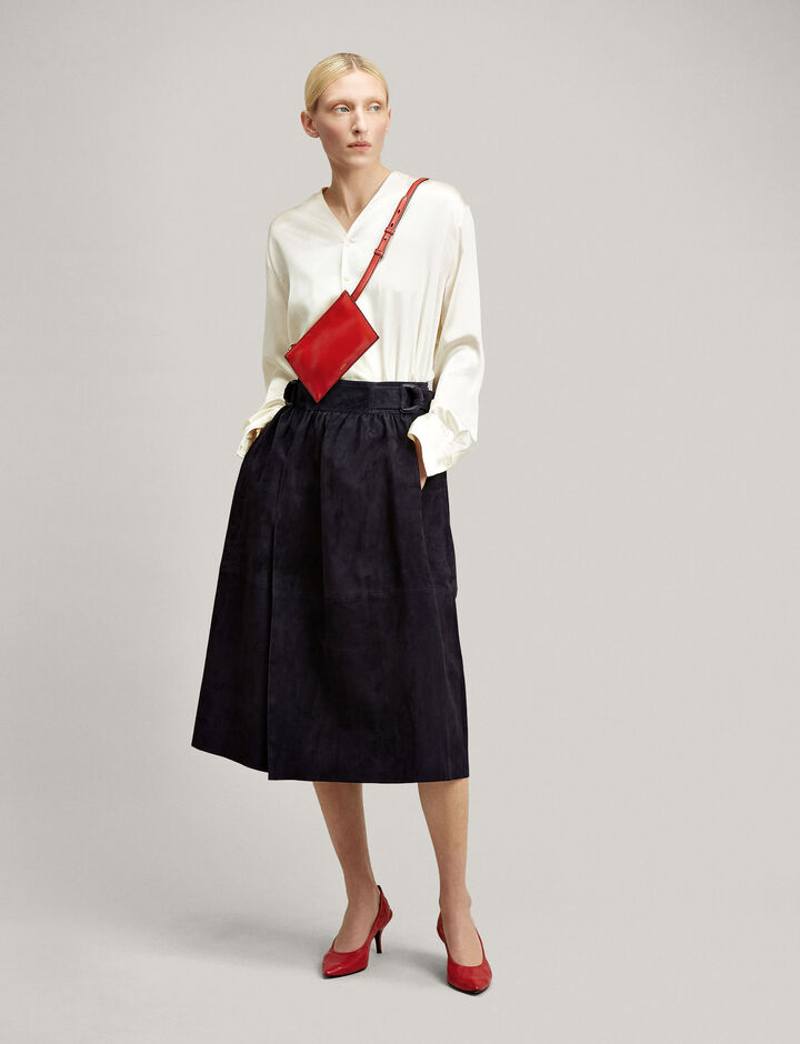 Joseph, Betty Suede Leather Skirt, in NAVY