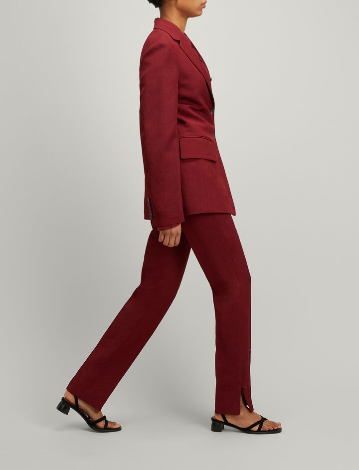 Joseph, Linen Suiting Reeve Trousers, in RUBY