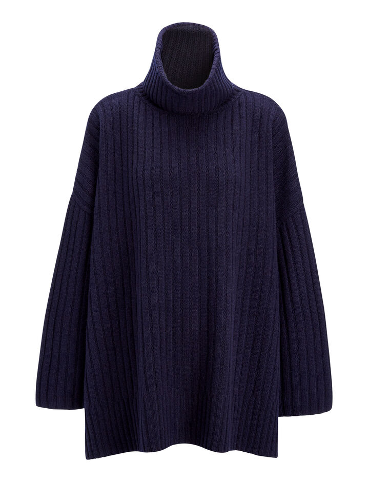 Joseph, Soft Wool Poncho, in NAVY