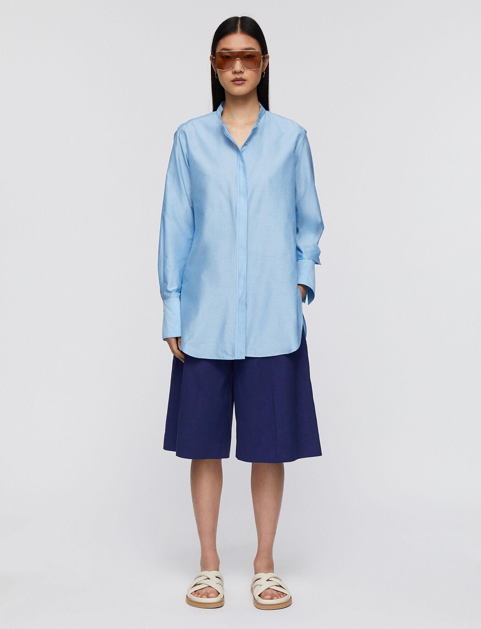 Joseph, Summer Silk Cotton Bratt Blouse, in CERULEAN