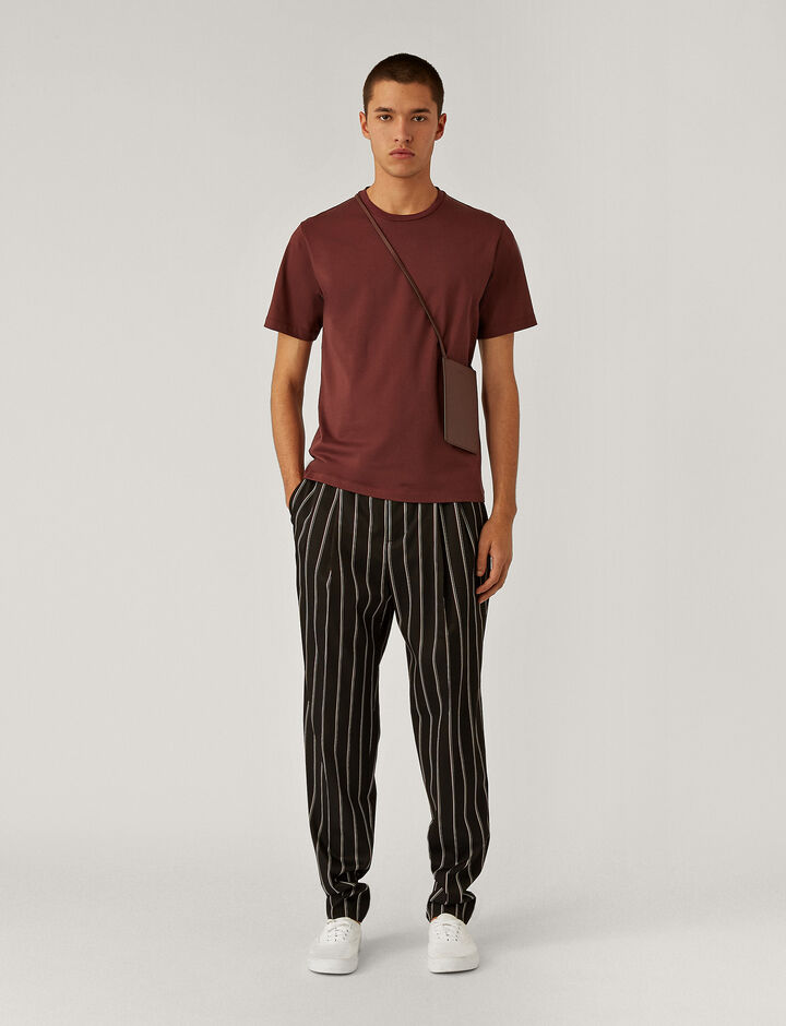 Joseph, Viscose Wool Stripe Trousers Trousers, in Black