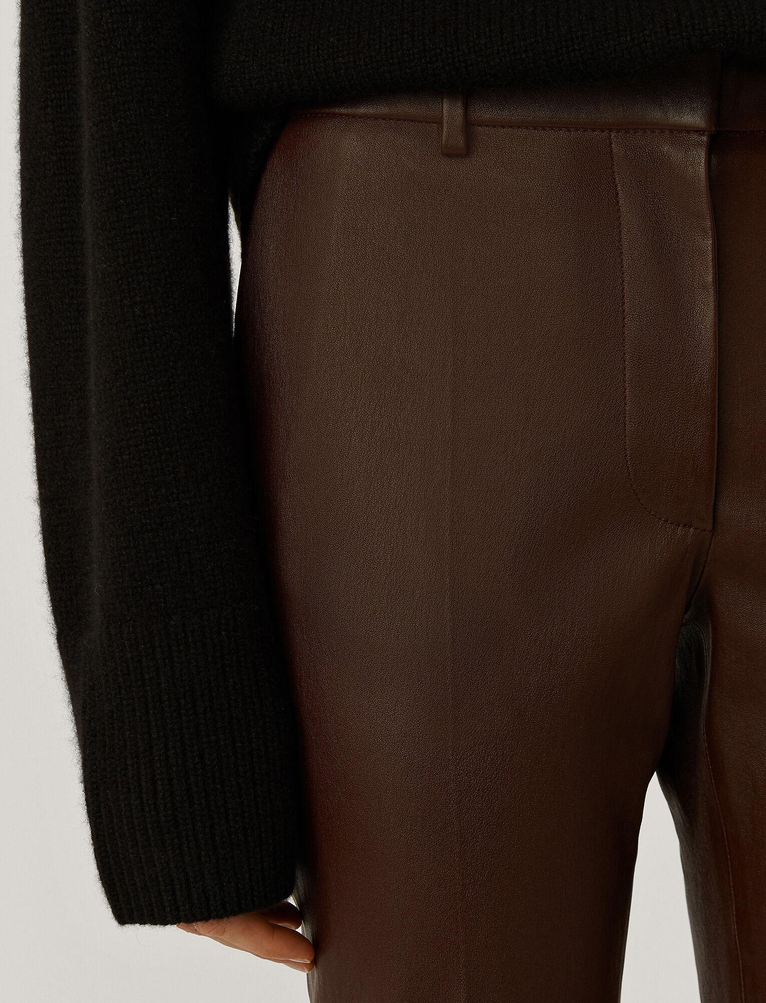 Joseph, Pantalon Coleman en cuir stretch, in Plum