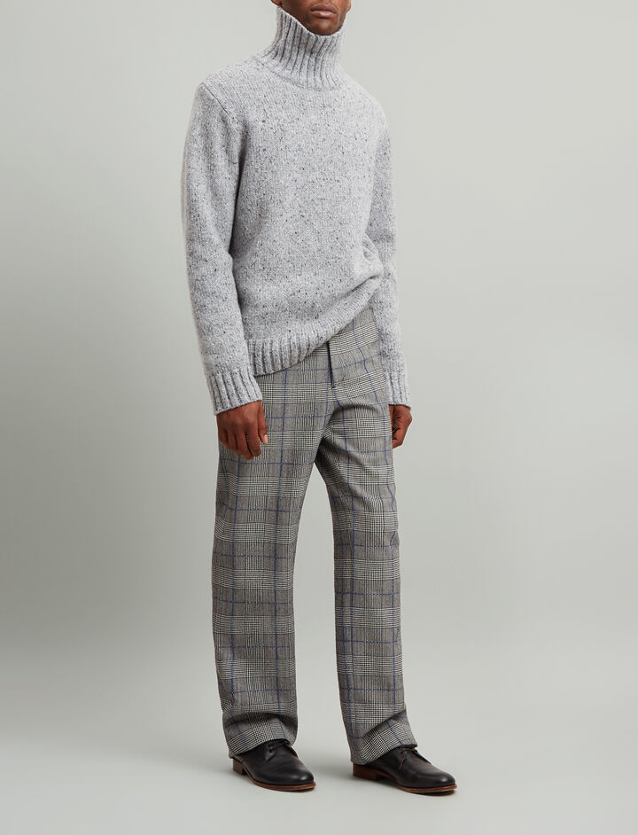 Joseph, Roll Neck Luxe Tweed Knit, in PEBBLE