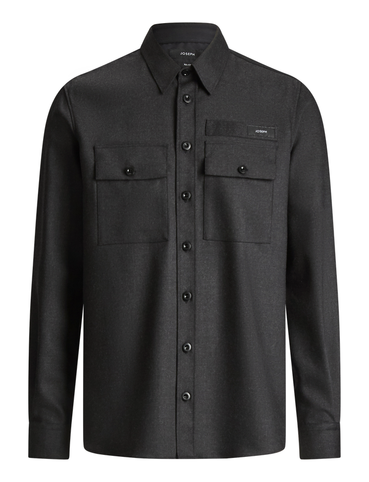 Joseph, Jackson Flannel Stretch Shirt, in CHARCOAL