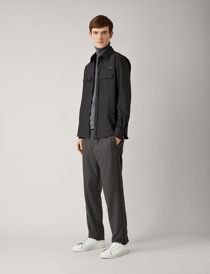 Joseph, Ennis Pinstripe Wool Trousers, in CHARCOAL