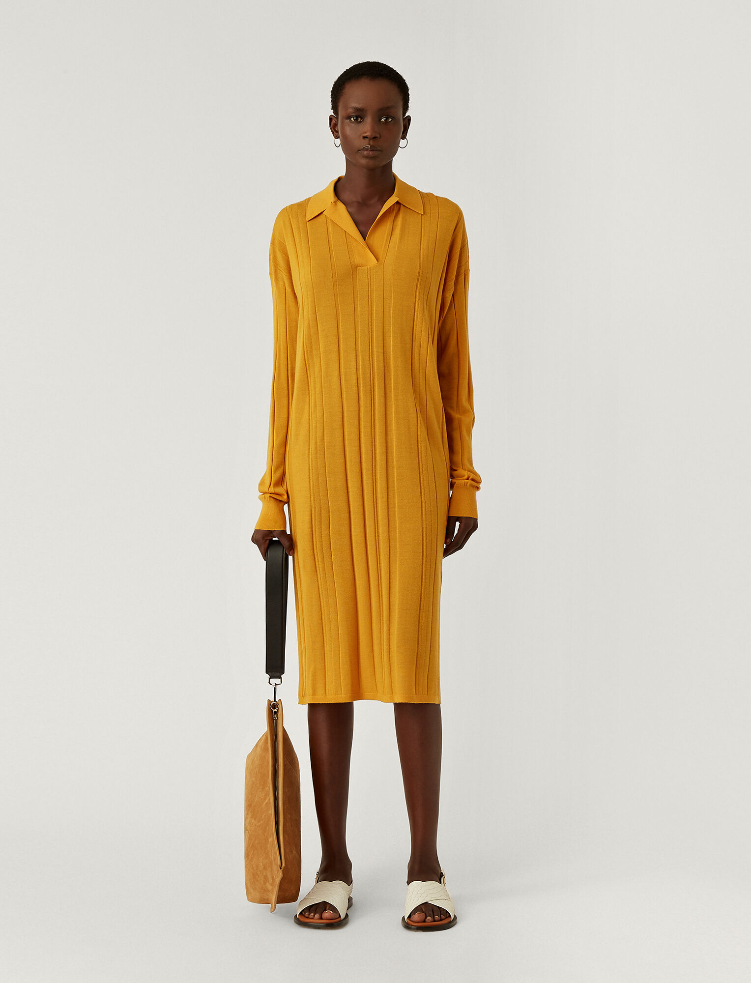 Joseph, Fine Merinos Oversized Dress, in SAFFRON