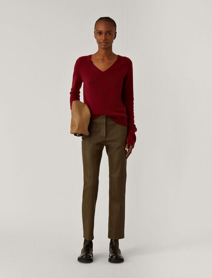 Joseph, V Nk Ls Pure Cashmere Knitwear, in Plum