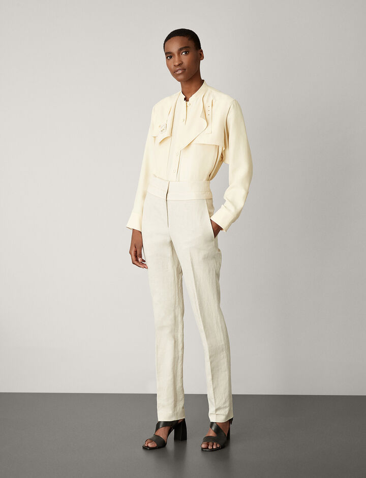 Joseph, Brett Cotton Linen Slub Trousers, in NATURAL