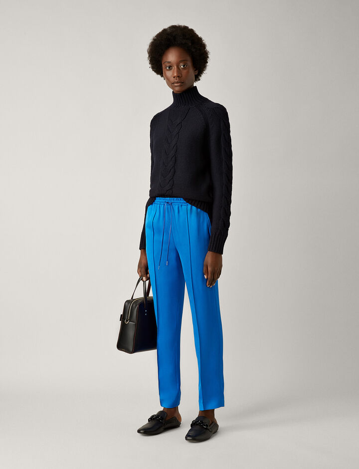 Joseph, Dino Liquid Twill Trousers, in PLASTIC BLUE