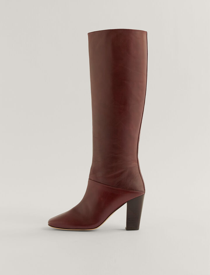 Joseph, Square Heel Long Boots, in Bordeaux