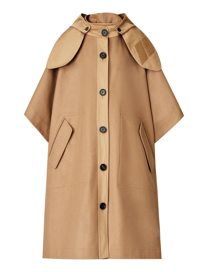 Joseph, Cape Compact Felt Coat, in BEIGE