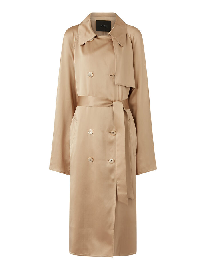 Joseph, Cepio Texture Satin Coats, in Blush