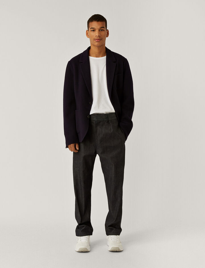 Joseph, Organic Selvedge Officer Trousers, in NAVY
