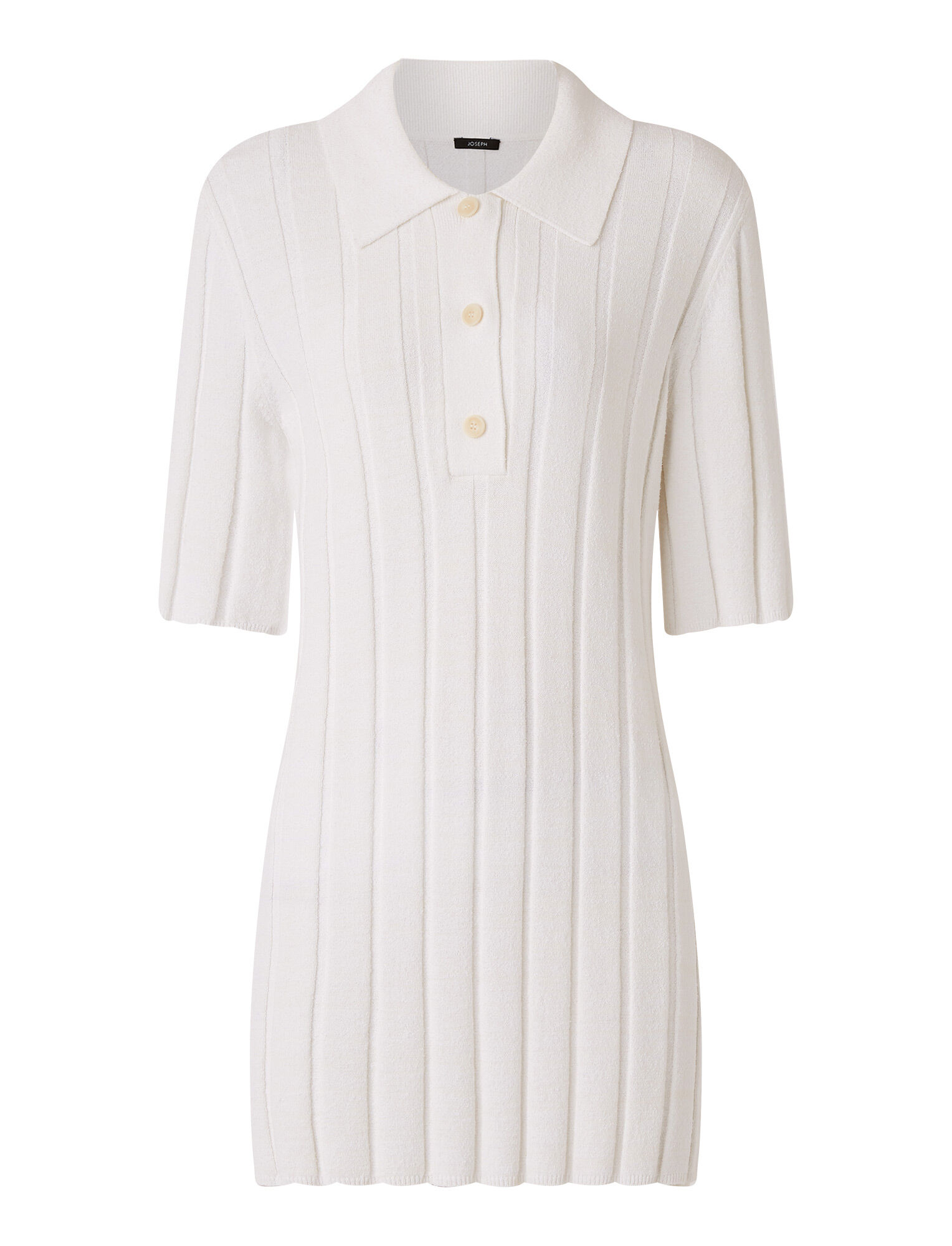 Joseph, Textured Rib Polo Top, in OFF WHITE