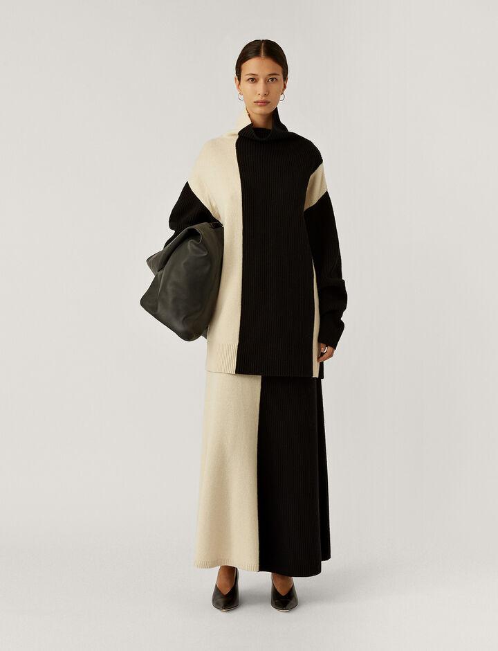 Joseph, High Nk Ls-Soft Wool, in IVORY COMBO
