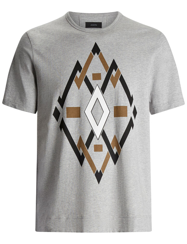 Joseph, Diamond Placed Printed Jersey Tee, in GREY CHINE